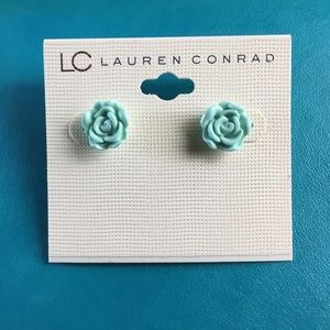 Rose shaped mint green earrings by Lauren Conrad